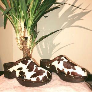 Brown Calf Fur Animal Print Mules/Slides